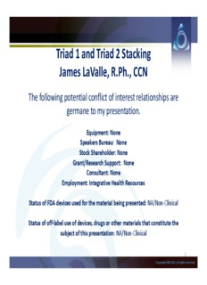 Triad 1 and Triad 2 Stacking James LaValle, R.Ph., CCN