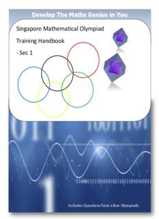 Singapore Mathematical Olympiad Training Handbook - Sec 1