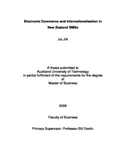 Electronic Commerce and Internationalisation in New Zealand SMEs Jia JIA A thesis submitted to ...
