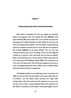 Chapter IV A Psychoanalytic Study of Kiran Desai's characterisation Kiran Desai is undoubtedly ...