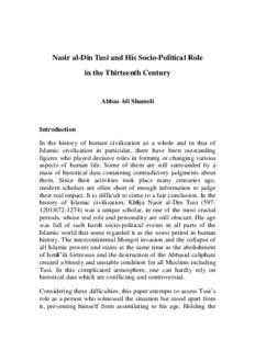 Nasir al-Din Tusi and His Socio-Political Role in the Thirteenth Century