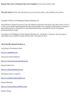 Hypnotic Sales Letters: 92 Hypnotic Sales Letter Templates