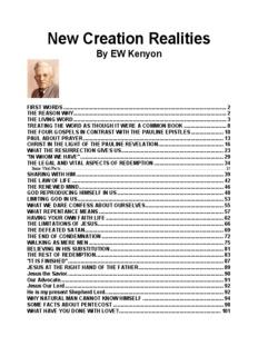 New Creation Realities By EW Kenyon - HopeFaithPrayer