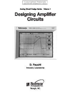 Designing Amplifier Circuits, Volume 1 - Analog Circuit Design Series