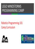 LEGO MINDSTORMS PROGRAMMING CAMP - EV3 Lessons