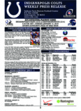 INDIANAPOLIS COLTS WEEKLY PRESS RELEASE - Colts Home
