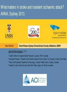 What matters in stroke and TIA - Australasian Neuroscience Nurses