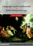 Languages and Communities in Early Modern Europe (The Wiles Lectures)