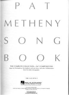 Pat Metheny Songbook: Lead Sheets (Guitar Book)