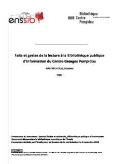 Faits et gestes de la lecture à la Bibliothèque publique d'information du Centre Georges Pompidou