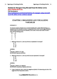Statistics for Managers Using Microsoft Excel 8th Edition Levine Solutions Manual