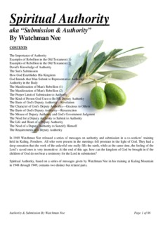 Submission And Authority By Watchman Nee