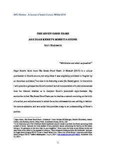 THE SEVEN GOOD YEARS AS ETGAR KERET'S ROSETTA STONE Nurit Buchweitz