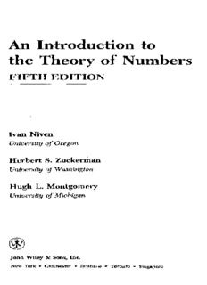 Niven I., An Introduction to the Theory of Numbers