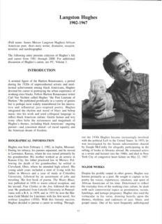 Page 1 Langston Hughes 1902-1967 (Full name: James Mercer Langston Hughes) African ...