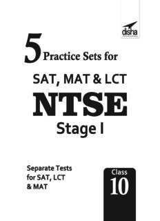 NTSE 5 Practice Sets for SAT MAT LCT for NTSE Stage 1 Disha