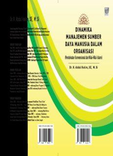 Dr. H. Abdul Hakim, SE, M. Si DINAMIKA MANAJEMEN SUMBER DAYA MANUSIA DALAM ...