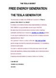 the tesla secret free energy generation the tesla generator - Talking