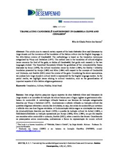 TRANSLATING CANDOMBLÉ GASTRONOMY IN GABRIELA CLOVE AND CINNAMON Rita de ...