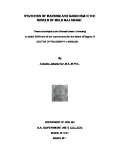 synthesis of marxism and gandhism in the novels of mulk raj anand