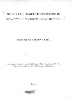 The Role Of Linguistic Deviations In Meja Mwangi'S Striving For The Wind