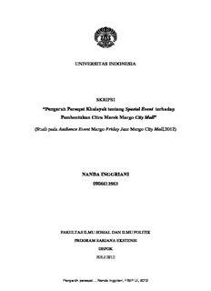 Pengaruh Persepsi Khalayak tentang Spesial Event terhadap Pembentukan Citra Merek Margo ...