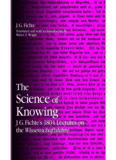 The Science Of Knowing: J.G. Fichte's 1804 Lectures On The Wissenschaftslehre