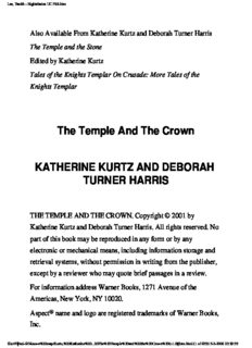 Katherine Kurtz - Knights Templar 02 - The Temple and the Crown