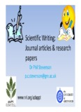Scientific Writing: Journal articles research papers