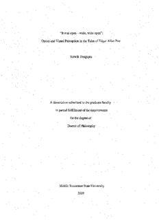 Optics and Visual Perception in the Tales of Edgar Allan Poe Satwik Dasgupta A disser