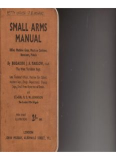 Small Arms Manual. Rifles, Machine Guns, Machine Carbine, Revolvers, Pistols