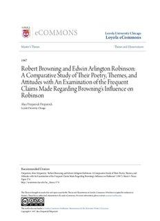 Robert Browning and Edwin Arlington Robinson: A Comparative Study