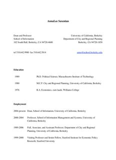 AnnaLee Saxenian - ERSA - European Regional Science