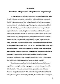 Yana Meerzon To the Poetics of Neighbourhood in Sergei Dovlatov's Émigré Writingsi