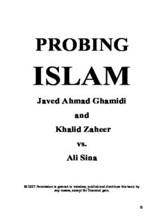 PROBING ISLAM Javed Ahmad Ghamidi and Khalid Zaheer vs. Ali Sina