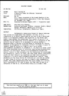 DOCUMENT RESUME AUTHOR Ward, Annalee R. TITLE PUB DATE Nov
