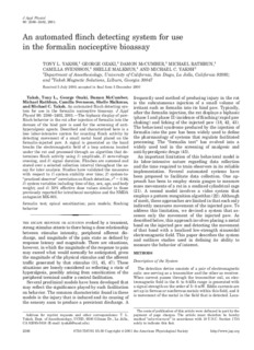 An automated flinch detecting system for use in the formalin - UCSD