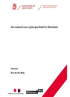 University of Groningen Een evaluatie van 15 jaar geurbeleid in Nederland Berg, Kim van den