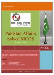 Pakistan Affairs CSS Solved MCQS