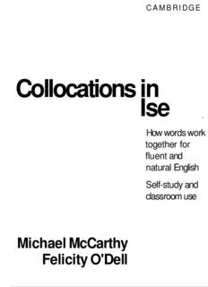 Collocations Michael McCarthy Felicity O'Dell