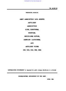 Army ammunition data sheets for artillery ammunition guns, howitzers, mortars, recoilless rifles, grenade launchers and artillery fuzes