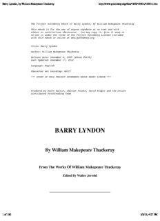 Barry Lyndon, by William Makepeace Thackeray