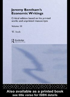 Jeremy Bentham's Economic Writings