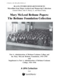 Mary McLeod Bethune Papers: The Bethune Foundation - ProQuest