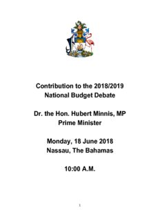 Contribution to the 2018/2019 National Budget Debate Dr. the Hon. Hubert Minnis, MP Prime ...