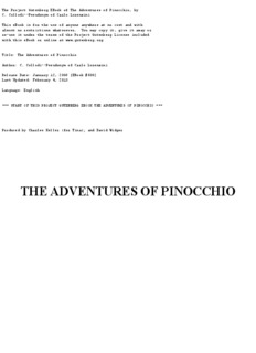 Adventures of Pinocchio (Carlo Collodi) - Mary Duncan School