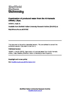 Examination of produced water from the Al-Hamada oilfield, Libya.