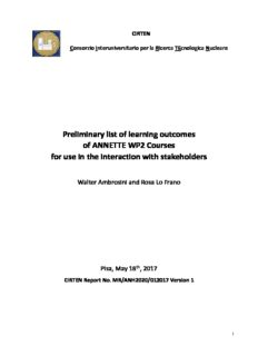 ANNETTE 2017 List of learning outcomes of ANNETTE WP2 courses