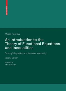 An Introduction to the Theory of Functional Equations and Inequalities: Cauchy's Equation and Jensen's Inequality