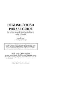 ENGLISH-POLISH PHRASE GUIDE - Univ. of Pittsburgh: Polish Language